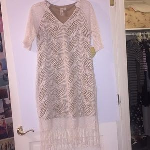 NWT Emma & Michele Fringe Crochet Midi Dress